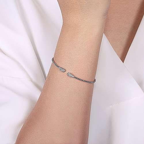 14K White Gold Bujukan Bead Cuff Bracelet with Diamond Pavé Teardrops