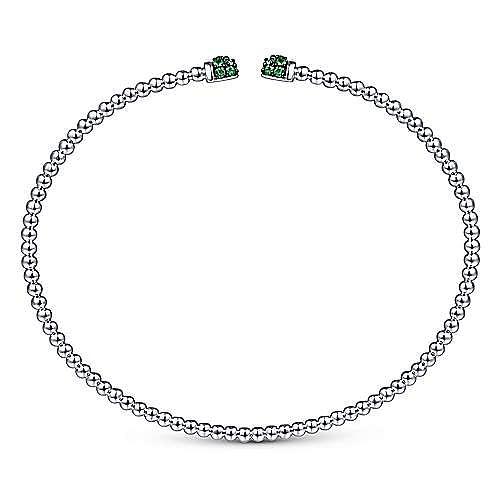 14K White Gold Bujukan Bead Cuff Bracelet with Emerald Pavé Caps