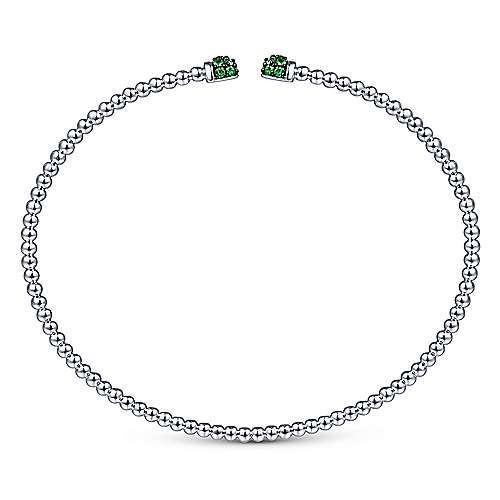 14K White Gold Bujukan Bead Cuff Bracelet with Emerald Pavé Caps