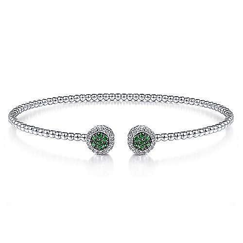 14K White Gold Bujukan Bead Cuff Bracelet with Emerald and Diamond Halo Caps