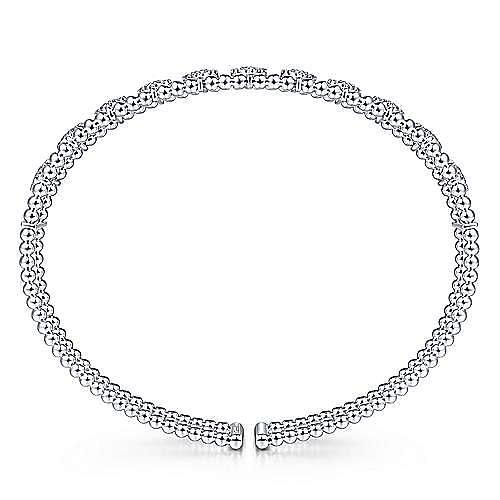 14K White Gold Bujukan Bead Cuff Bracelet with Pavé Diamond Connectors