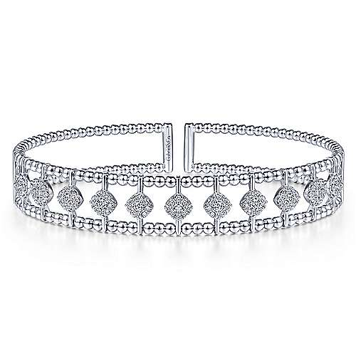 14K White Gold Bujukan Bead Cuff Bracelet with Pavé Diamond Connectors