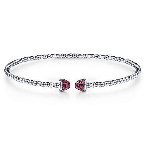 14K White Gold Bujukan Bead Cuff Bracelet with Ruby Pavé Caps