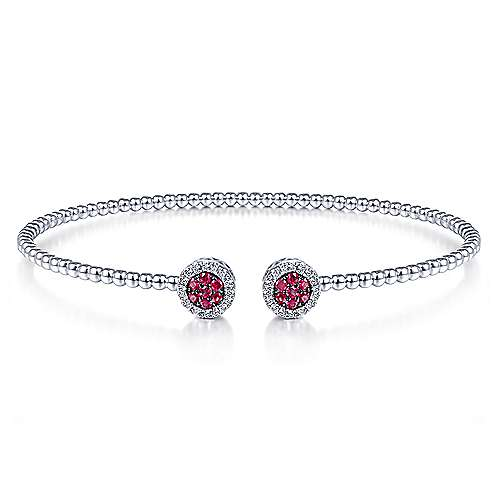 14K White Gold Bujukan Bead Cuff Bracelet with Ruby and Diamond Halo Caps