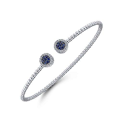 14K White Gold Bujukan Bead Cuff Bracelet with Sapphire and Diamond Halo Caps