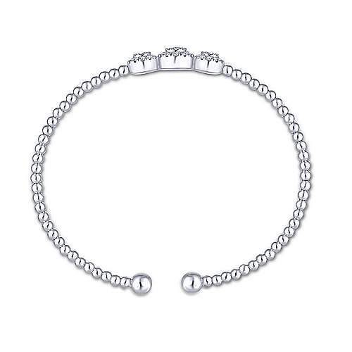 14K White Gold Bujukan Bead Cuff Bracelet with Three Pavé Diamond Stations