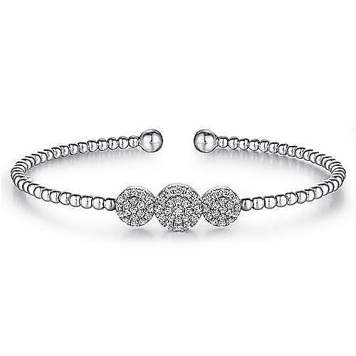14K White Gold Bujukan Bead Cuff Bracelet with Three Pavé Diamond Stations