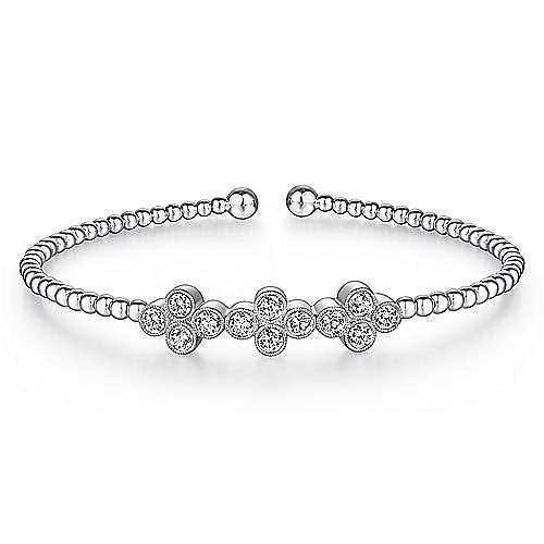 14K White Gold Bujukan Bead Cuff Bracelet with Three Quatrefoil Diamond Stations
