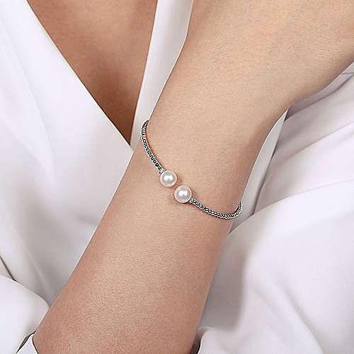 14K White Gold Bujukan Bead Split Bracelet with Pearl and Diamond Caps