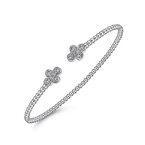 14K White Gold Bujukan Bead Split Cuff Bracelet with Quatrefoil Diamond Endcaps