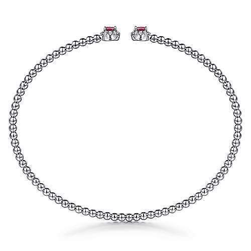 14K White Gold Bujukan Bead Split Cuff Bracelet with Ruby and Diamond Bangle