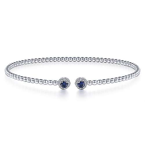 14K White Gold Bujukan Bead Split Cuff Bracelet with Sapphire and Diamond