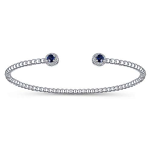 14K White Gold Bujukan Bead Split Cuff Bracelet with Sapphire and Diamond