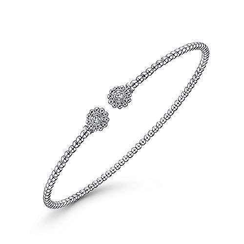 14K White Gold Bujukan Split Cuff Bracelet with Diamond Flower Caps