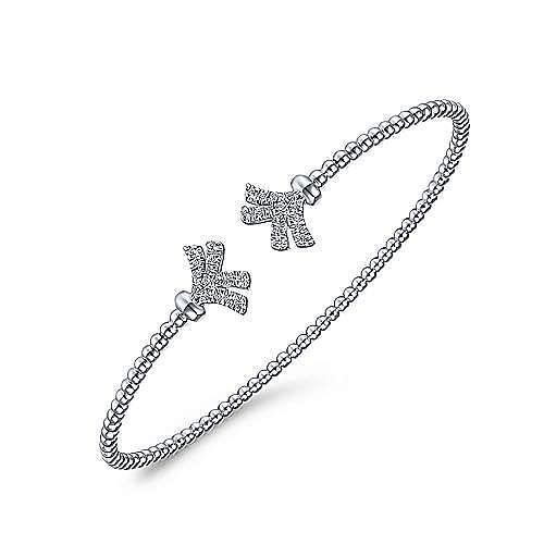 14K White Gold Bujukan Split Cuff Bracelet with Diamond Pavé Fan Caps