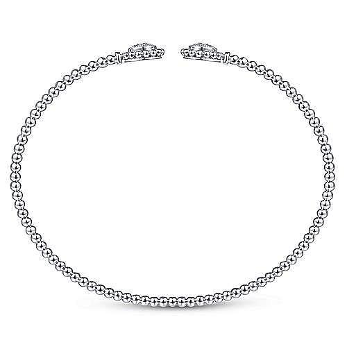 14K White Gold Bujukan Split Cuff Bracelet with Diamond Pavé Flower Caps