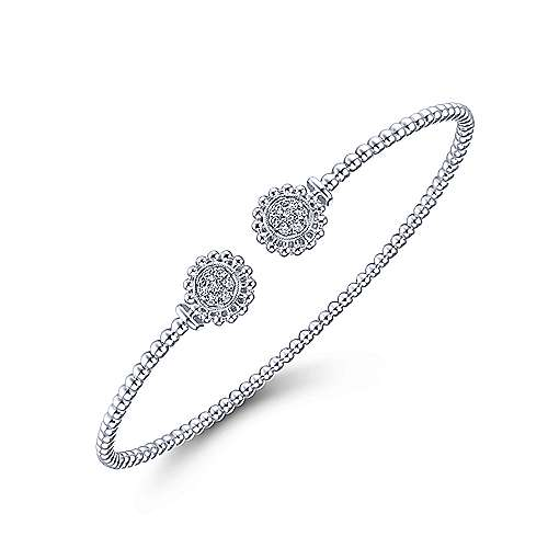 14K White Gold Bujukan Split Cuff Bracelet with Diamond Pavé Flower Caps