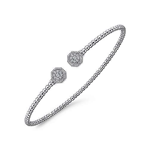 14K White Gold Bujukan Split Cuff Bracelet with Diamond Pavé Hexagon Caps