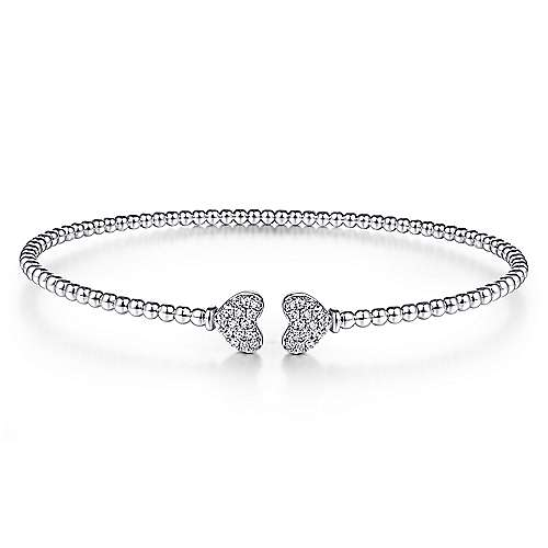 14K White Gold Bujukan Split Cuff Bracelet with Pavé Diamond Hearts