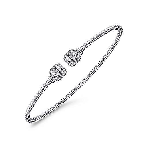 14K White Gold Bujukan Split Cuff Bracelet with Pavé Diamond Squares