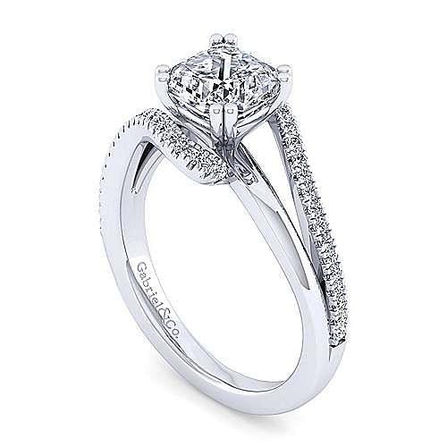 14K White Gold Bypass Cushion Cut Diamond Engagement Ring