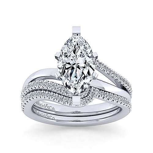 14K White Gold Bypass Marquise Diamond Engagement Ring