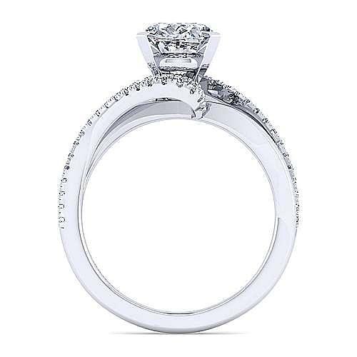 14K White Gold Bypass Oval Diamond Engagement Ring