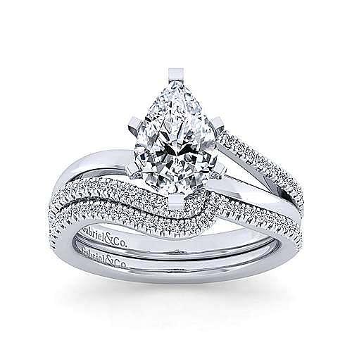14K White Gold Bypass Pear Shape Diamond Engagement Ring