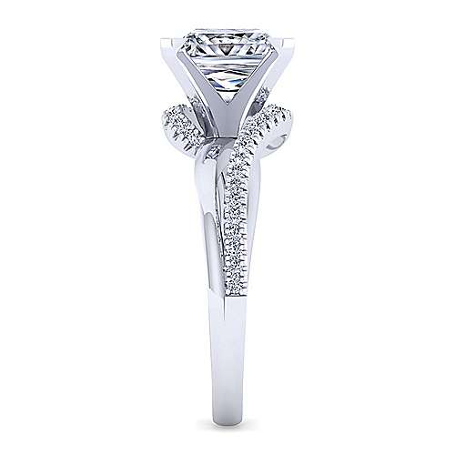 14K White Gold Bypass Princess Cut Diamond Engagement Ring