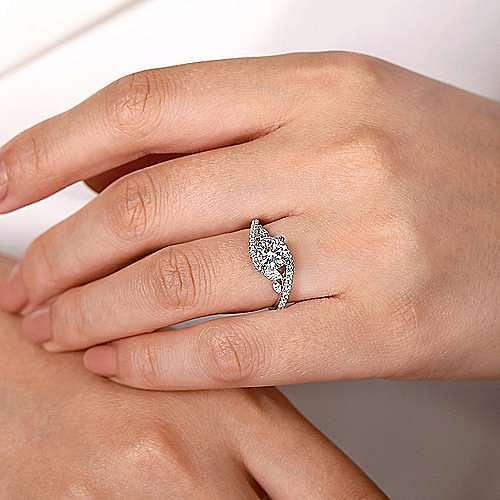 Bypass Marquise /& Round Diamond Engagement Wedding Ring 14K White Gold Finish