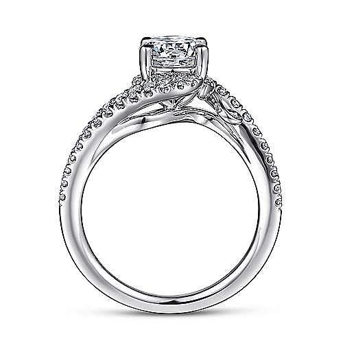 14K White Gold Bypass Round Diamond Engagement Ring