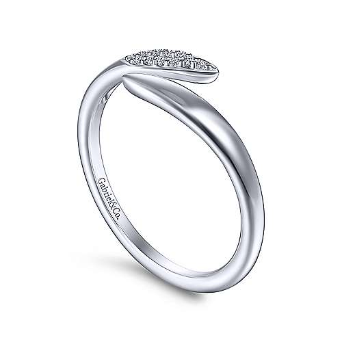 14K White Gold Bypass Spiked Diamond Ladies Ring