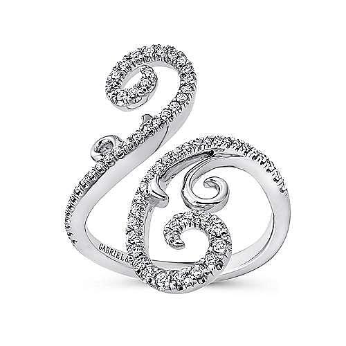 14K White Gold Bypass Swirling Diamond Ring
