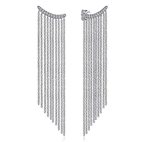 14K White Gold Cascading Chain and Curved Diamond Stud Earrings