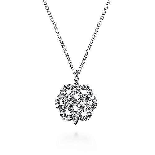 14K White Gold Celtic Knot Diamond Pendant Necklace