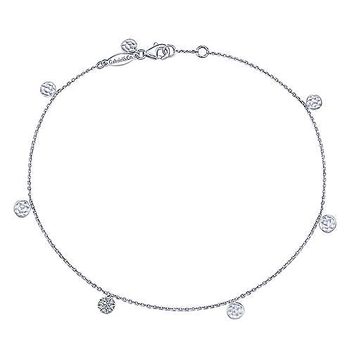 14K White Gold Chain Ankle Bracelet with Round Hammered and Diamond Disc Drops