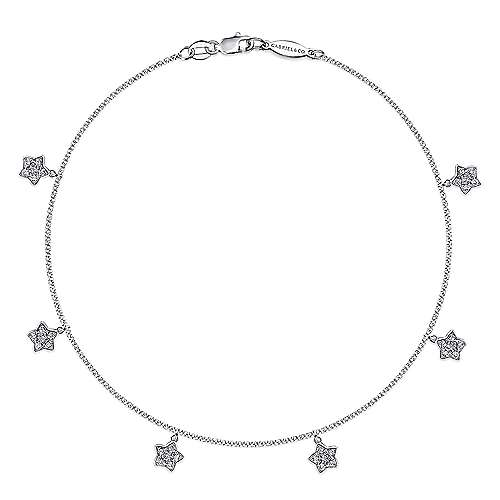 14K White Gold Chain Ankle Bracelet with White Gold Diamond Star Charms