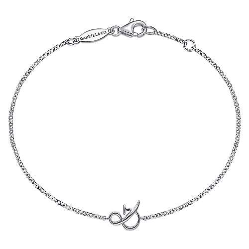 14K White Gold Chain Bracelet with