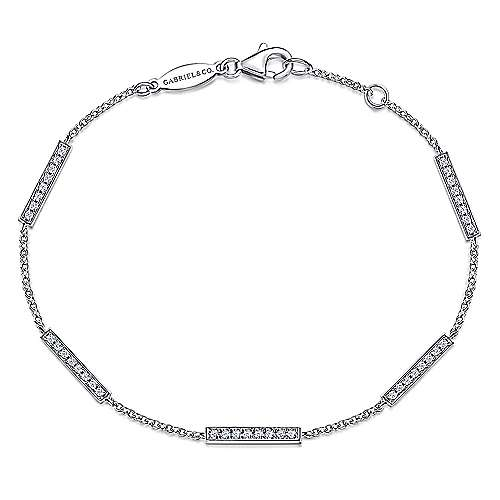 14K White Gold Chain Bracelet with Diamond Bar Stations
