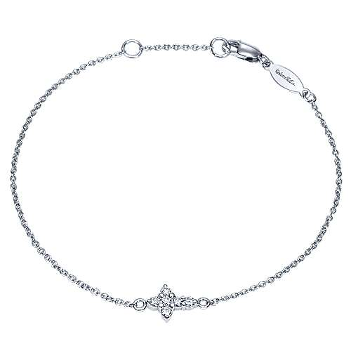 14K White Gold Chain Bracelet with Diamond Cross