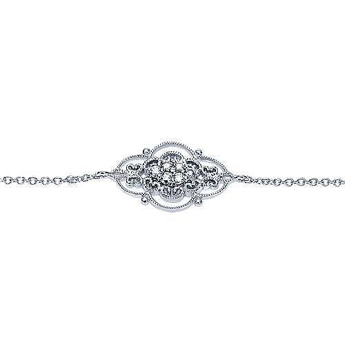14K White Gold Chain Bracelet with Diamond Filigree Center Station