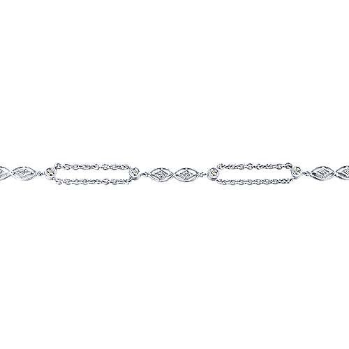 14K White Gold Chain Bracelet with Diamond and Filigree Stations