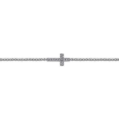 14K White Gold Chain Bracelet with Horizontal Diamond Cross