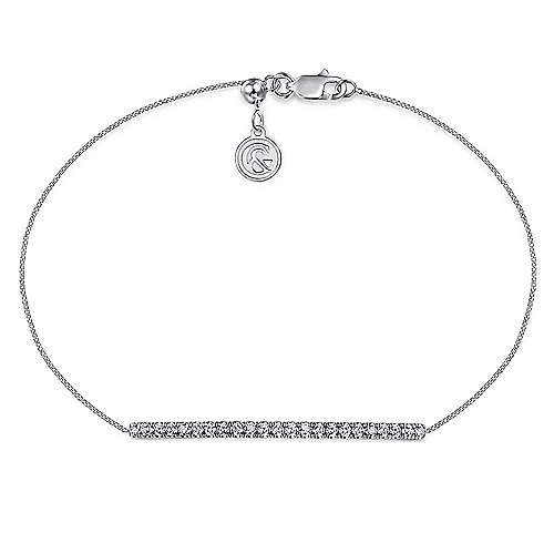 14K White Gold Chain Bracelet with Pavé Diamond Bar