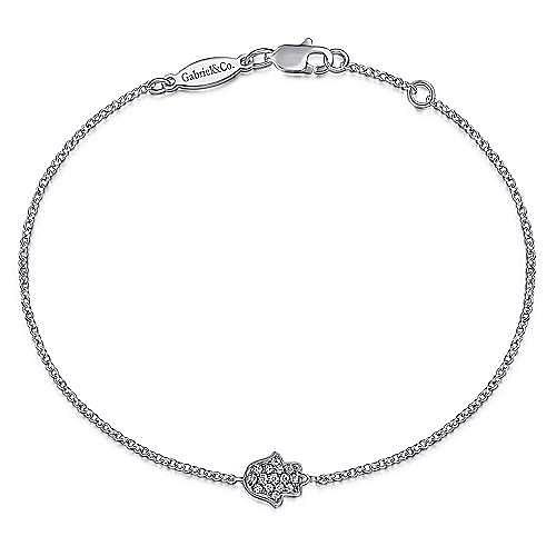 14K White Gold Chain Bracelet with Pavé Diamond Hamsa