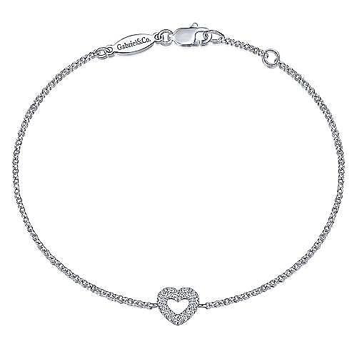 14K White Gold Chain Bracelet with Pavé Diamond Heart