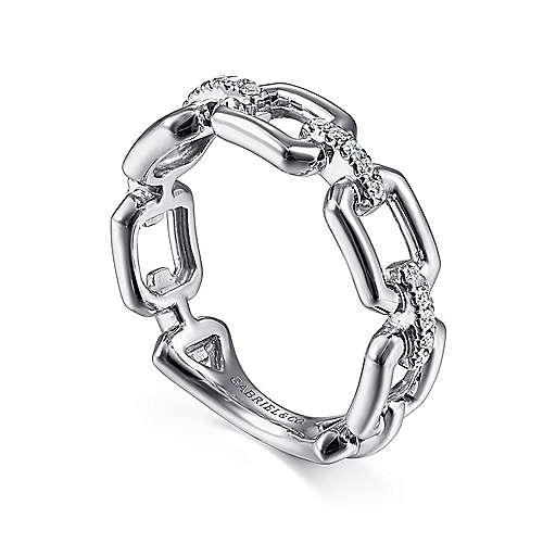 14K White Gold Chain Link Ring Band with Diamond Connectors