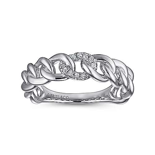 14K White Gold Chain Link Ring Band with Pavé Diamond Station