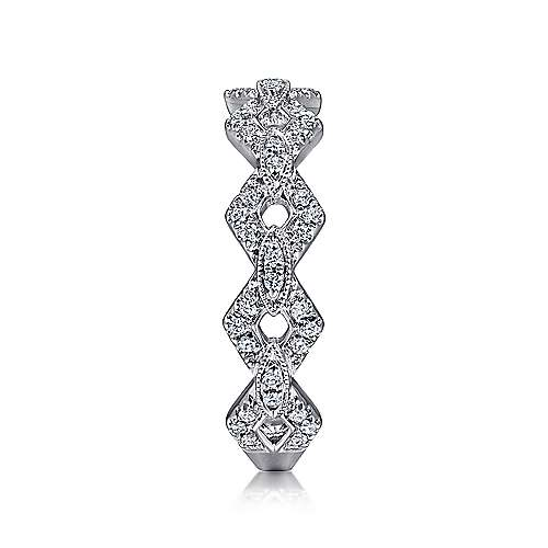 14K White Gold Chain Link Stackable Diamond Ring