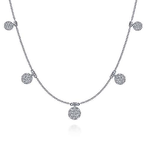 14K White Gold Chain Necklace with Pavé Diamond Disc Drops